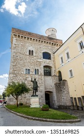 """Benevento, Campania, Italy - October, 2018 - The Rectors Palace """"Rocca dei Rettori"""", located in """"Piazza IV Novembre"""", Benevento Castle"""