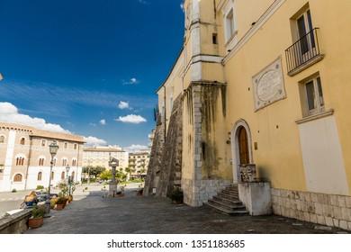 "Benevento, Campania, Italy - October, 2018 - Statue of The Lion of Urbano VIII, and sannio museum located in ""Piazza IV Novembre"", Benevento Castle, Italy"