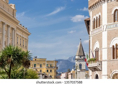 Benevento, Campania, Italy - October, 2018 - Skyline and bell tower in Benevento, Italy