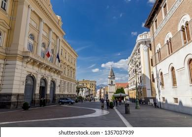 Benevento, Campania, Italy - October, 2018 - Central Strret of Benevento, Corso Garibaldi