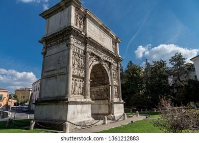 Benevento, Campania, Italy - October, 2018 - Ancient Roman Arch of Trajan in Benevento, Italy