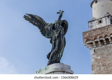 """Benevento, Campania, Italy - October, 2018 - Details of The War Dead Monument built in 1929 by King Vittorio Emmanuele III, located in """"Piazza IV Novembre"""", Benevento, Italy"""