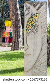 "Benevento, Campania, Italy - October, 2018 - Modern Art Statue in the garden of Rectors Palace ""Palazzo dei Rettori"", Benevento Castle, Italy"