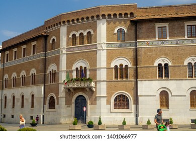 Benevento, Campania/Italy - 07212018: This is one of the 'palazzi' alongside the famous Corso Garibaldi in Benevento. The richness of historical buildings makes this city a great destination.