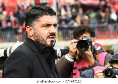 Benevento, Italy, December 03, 2017: Gennaro Gattuso the head coach of MILAN during football match serie A League 2017/2018 between BENEVENTO vs MILAN at Vigorito stadium.
