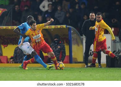 Benevento Italy, February 4, 2018: Kalidou Koulibaly of NAPOLI and Costa Guilherme of BENEVENTO in action during football match serie A League 2018 between BENEVENTO vs NAPOLI at Vigorito Stadium.