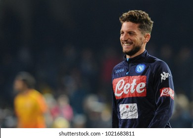 Benevento Italy, February 4, 2018: Dries Mertens of NAPOLI in action during football match serie A League 2018 between BENEVENTO vs SSC NAPOLI at Vigorito Stadium.