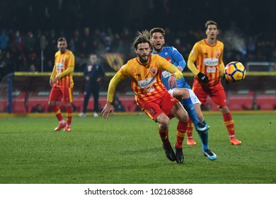 Benevento Italy, February 4, 2018:  Andra Costa of BENEVENTO in action during football match serie A League 2018 between BENEVENTO vs SSC NAPOLI at Vigorito Stadium.