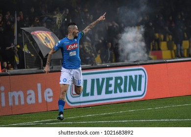 Benevento Italy, February 4, 2018: Marek Hamsik of SSC Napoli celebrates after scoring during football match serie A League 2018 between BENEVENTO vs SSC NAPOLI at Vigorito Stadium.