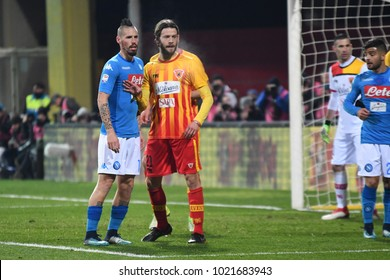 Benevento Italy, February 4, 2018: Marek Hamsik of NAPOLI and Andra Costa of BENEVENTO in action during football match serie A League 2018 between BENEVENTO vs SSC NAPOLI at Vigorito Stadium.