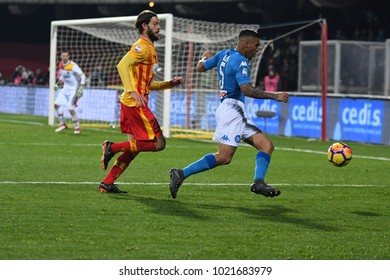 Benevento Italy, February 4, 2018: Marques Allan of NAPOLI and Andrea Costa of BENEVENTO in action during football match serie A League 2018 between BENEVENTO vs SSC NAPOLI at Vigorito Stadium.