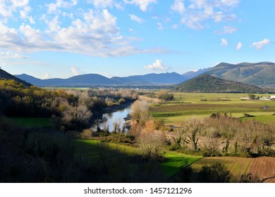 Benevento, Italy/ Limatola - Mars_21_2018:  Piana di Monte Verna in the province of Benevento, in the background the Matese Mountains, and the Volturno River, an enchanting place with many trees.