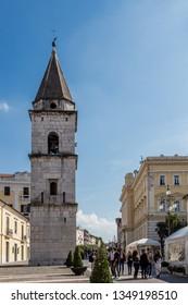 Benevento, Italy - October 2018 - Bell Tower of the church of Santa Sofia in Benevento, Campania, Italy, UNESCO world heritage. Garibaldi Street in Old Town of Benevento, Italy