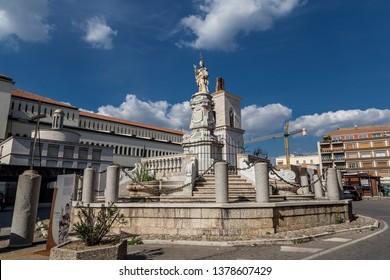 Benevento, Italy - October 2018 - Orsini's Pope Fountain. Statue of the ancient Pope Benedict XIII, Benevento, Italy