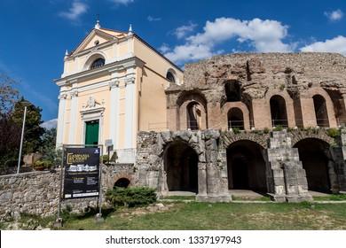 """Benevento, Italy - October 2018 - The Roman Amphitheater and Church of """"Santa Maria della Verità"""" in Benevento, Campania"""