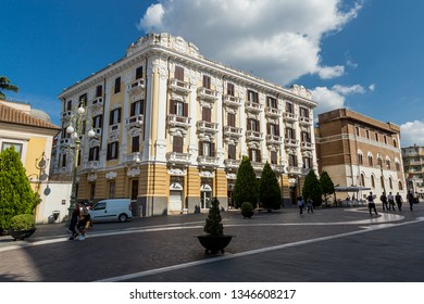 Benevento, Italy - October 2018 - The Roscio Palace in Garibaldi Street, Old Town of Benevento, Italy