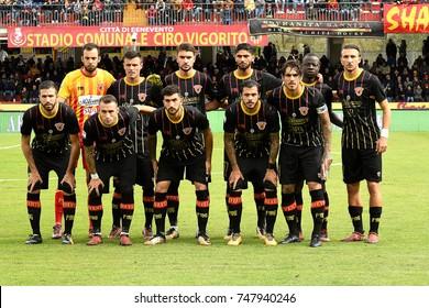 Benevento, Italy, October 29, 2017: BENEVENTO team during football match serie A League 2017/2018 between BENEVENTO vs SS LAZIO at Vigorito stadium.