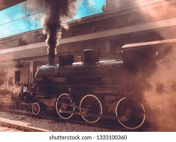 BENEVENTO, ITALY - SEPTEMBER 23, 2018  An Historical Steam Train at Benevento Train Station, during an event dedicated to old trains.