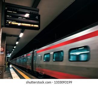 BENEVENTO TRAIN STATION, BENEVENTO, ITALY - JANUARY 14, 2019  A Frecciargento, Italian High Speed Train, in transit at Benevento Train Station