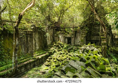 Beng Mealea, ancient temple ruins in the jungle, Siem Reap, Cambodia.