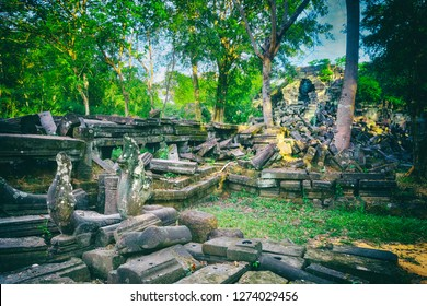 Beng Mealea or Bung Mealea temple at morning time. Siem Reap. Cambodia