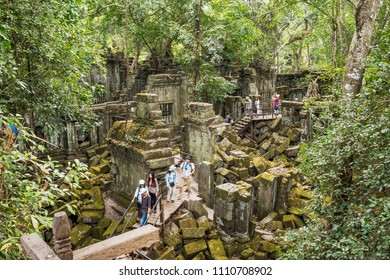 BENG MEALEA, CAMBODIA – JANUARY 8, 2018: Beng Mealea is one of the most mysterious temples at Angkor, as nature has well and truly run riot. - Beng Mealea, Sien Reap, Cambodia.