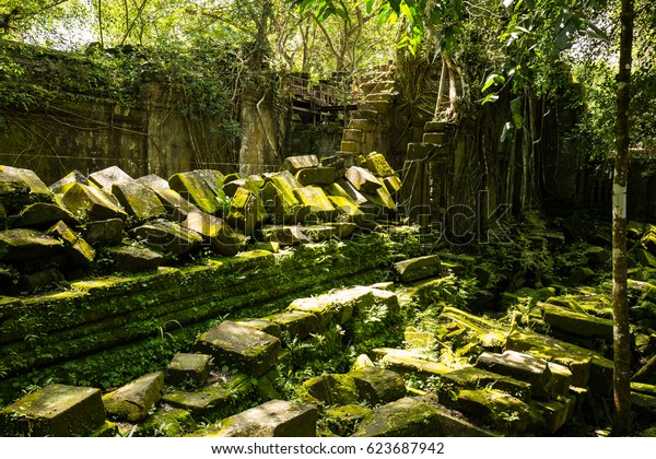Beng Mealea temple, The ruins of the ancient hiding in the woods, Siem Reap, Cambodia
