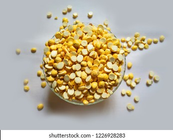 Bengal Gram roasted kept in a glass bowl in white background