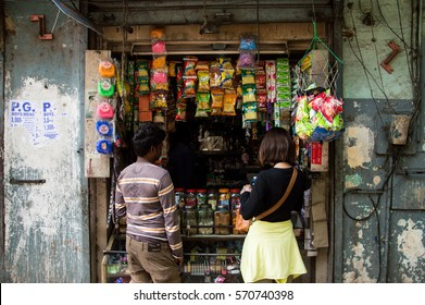BENGALURU, INDIA - APRIL 12, 2016: the customers buying things from the conveniece store in india