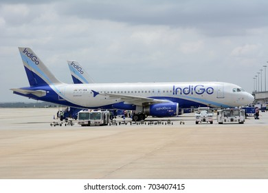 BENGALURU, INDIA - AUGUST 19, 2017: An Indigo Airbus A320 on the tarmac at Kempegowda International Airport. Indigo is the fastest growing and also the largest airline in India.