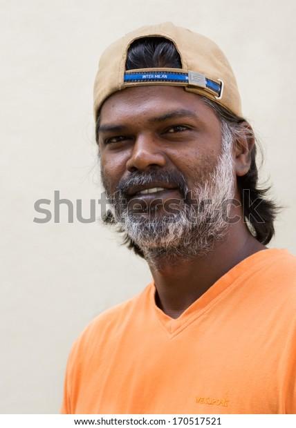 BENGALURU, INDIA - CIRCA NOVEMBER 2013: Mr. Jagadish Kadur, award winning painter and sculptor.