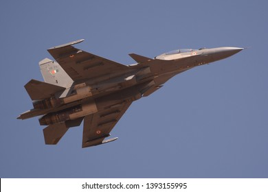 Bengaluru, India - Feb 23, 2019: A Sukhoi Su-30 fighter jet of the Indian Air Force flying at Aero India 2019. Aero India is a biennial air show and aviation exhibition.