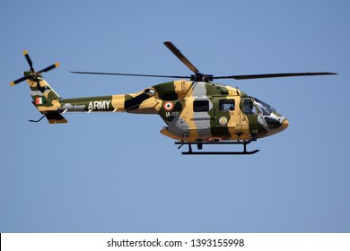 Bengaluru, India - Feb 23, 2019: An HAL Dhuv of the Indian Army flying at Aero India 2019. Aero India is a biennial air show and aviation exhibition.