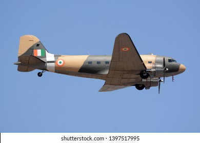 Bengaluru, India - Feb 23, 2019: A Douglas DC-3 of the Indian Air Force flying at Aero India 2019. Aero India is a biennial air show and aviation exhibition.
