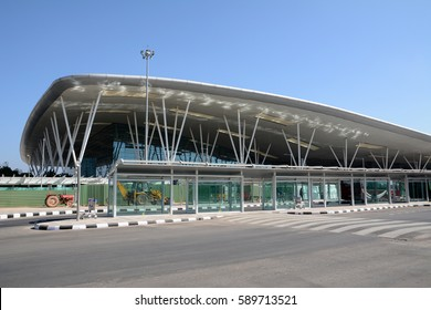 BENGALURU, INDIA - FEBRUARY 13, 2017: Terminal building of Kempegowda International Airport which is an international airport serving Bengaluru, the capital of the Indian state of Karnataka.
