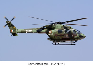 Bengaluru, India - February 15, 2017: An HAL Dhruv of the Indian Army flying at Aero India 2017. Aero India is a biennial air show and aviation exhibition.