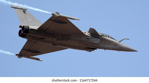 Bengaluru, India - February 15, 2017: Dassault Rafale multirole fighter aircraft of the French Air Force at Aero India 2017. Aero India is a biennial air show and aviation exhibition.