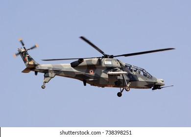 BENGALURU, INDIA - FEBRUARY 15, 2017: HAL Light Combat Helicopter of the Indian Air Force on display at Aero India 2013. Aero India is a biennial air show and aviation exhibition.