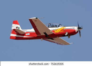 BENGALURU, INDIA - FEBRUARY 15, 2017: The HAL HTT-40 is a basic trainer aircraft from Hindustan Aeronautics Limited being demonstrated at Aero India 2017.