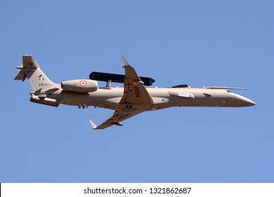 Bengaluru, India - February 23, 2019: DRDO AEWACS on an Embraer ERJ 145 at Aero India 2019. The AEWACS provides airborne early warning and control system for the Indian Air Force.