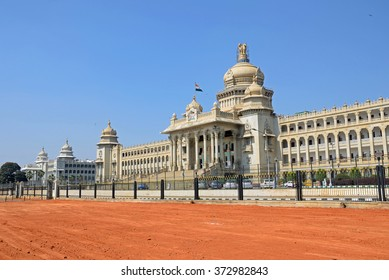 BENGALURU, INDIA - JANUARY 30 2016: Vidhana Soudha is a Dravidian architecture that houses the State Legislature and the Secretariat of Karnataka and was completed in 1956.