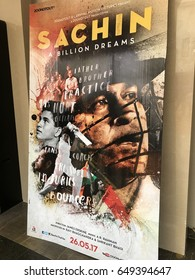"Bengaluru, India: May 27th, 2017, Poster of movie: ""Sachin: A Billion Dreams"" at PVR Cinemas, it is an biographical film based on the life of Indian cricket icon and living legend Sachin Tendulkar"