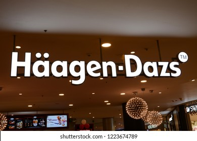 Bengaluru, India - November 1, 2018: Logo of Häagen-Dazs which is an American ice cream brand, established by Reuben and Rose Mattus in the Bronx, New York, in 1961.
