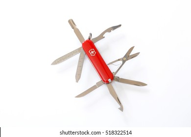 BENGALURU, INDIA - NOVEMBER 19, 2016: A Victorinox MiniChamp isolated on white background. Victorinox is a knife manufacturer based in the town of Ibach, Switzerland.