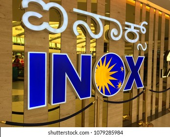 Bengaluru, Karnataka, India - April 14th 2018: INOX Movie Multiplex at Mantri Mall, INOX currently operates 120 multiplexes and 481 screens in 58 cities (updated on 30 October 2017) across India .