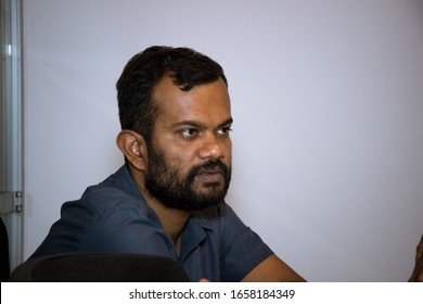 Bengaluru, Karnataka, India - Feb 26, 2020: A candid shot of Keynote speaker at Workshop on Union Budget 2020