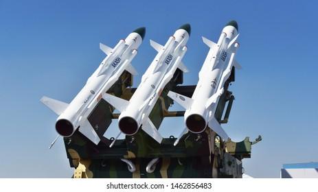 Bengaluru, Karnataka, India, February 23, 2019: Akash - medium-range mobile surface-to-air missile defense system on display at the Aero India 2019 air show.