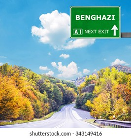 BENGHAZI road sign against clear blue sky