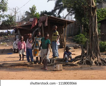 BENI,  DEMOCRATIC REPUBLIC OF THE CONGO,  AFRICA - CIRCA AUGUST 2010  :  Young CHILDREN playing around at the village in BENI.