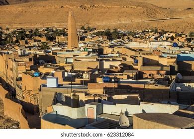 Beni Isguen ancient town, aerial view, Ghardaia Province, M'Zab Valley, Algeria